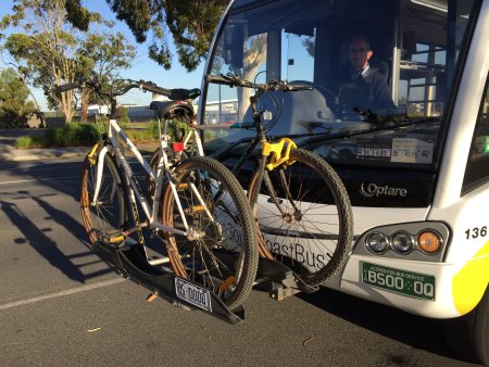 Bikes on the bus at Wonthaggi for our ride from Wonthaggi to Cowes, Phillip Island