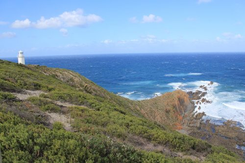 Cape Liptrap Lighthouse and rocky coast