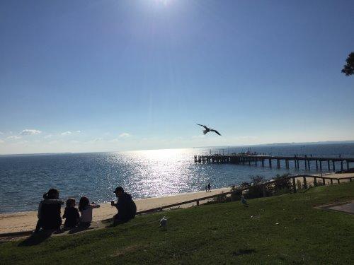 Enjoying the winter sun in Cowes, Phillip Island