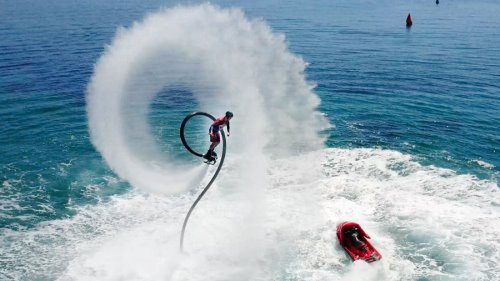 Doing flyboarding tricks