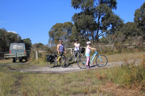 Cycling family in the national park