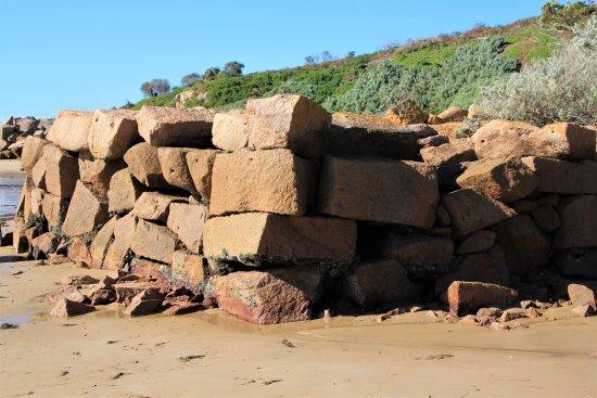 Wall Of Granite Blocks At The Old Granite Quarry At Cape