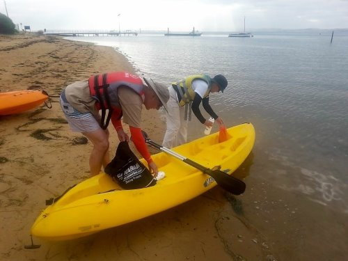 Preparing to kayak to Rhyll Inlet with Outthere Outdoor Activities, Phillip Island