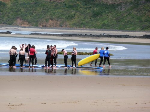 Surfing lesson at Smiths Beach, Phillip Island