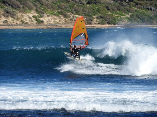 Windsurfing off Flynns Beach, Phillip Island.