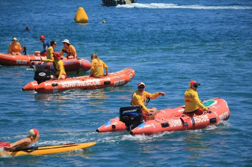 Crew from Woolamai Beach SLSC patrol The Narrows during the San Remo Channel Challenge