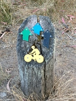 Bike path sign at Oswin Roberts Reserve