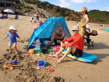 Family at Phillip Island beach