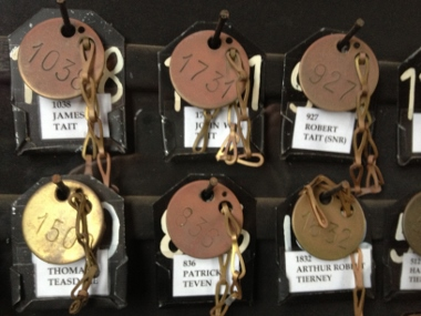 Miners tags at State Coal Mine at Wonthaggi