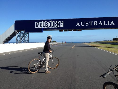 Cycling around Phillip Island Circuit