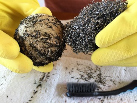Removing the spines on a sea urchin