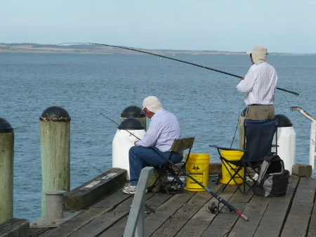 Fishermen on Cowes Jetty, Phillip Island